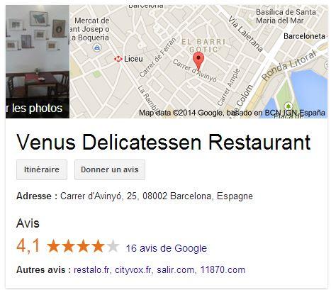 venus delicatessen restaurant adresse
