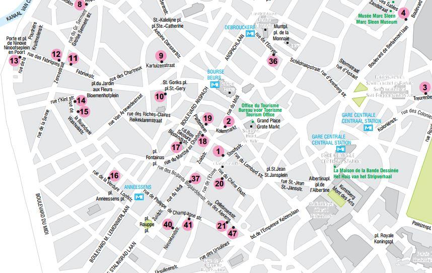 Cliquez : Plan des fresques murales de Bruxelles